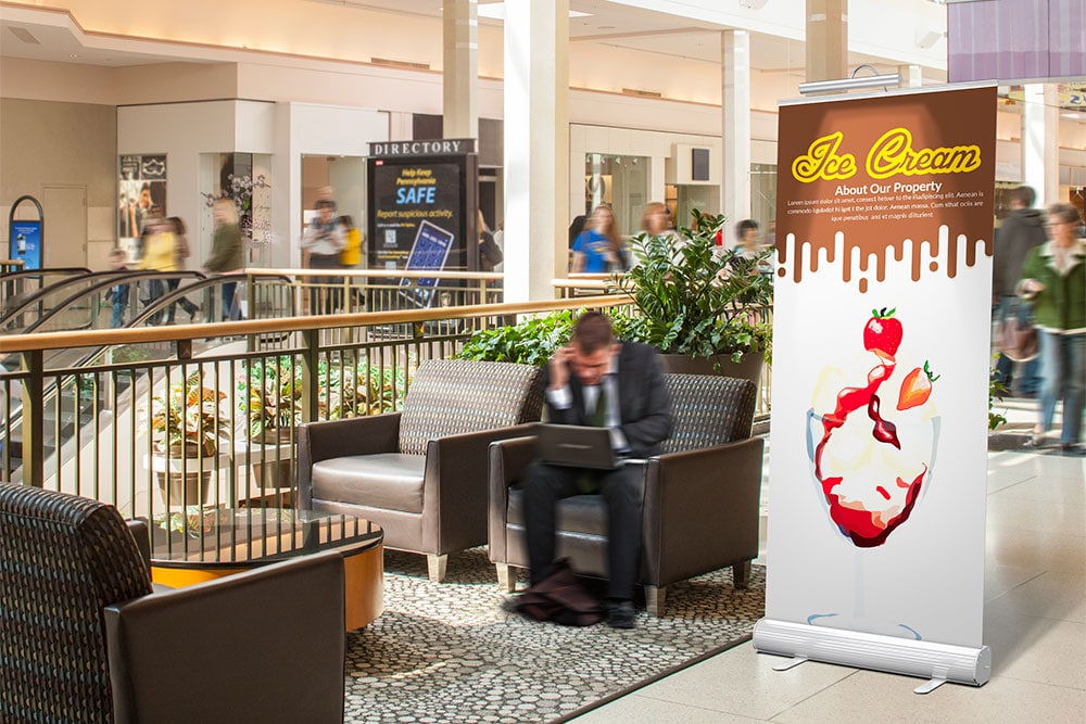 hotel lobby rollup banner mockup