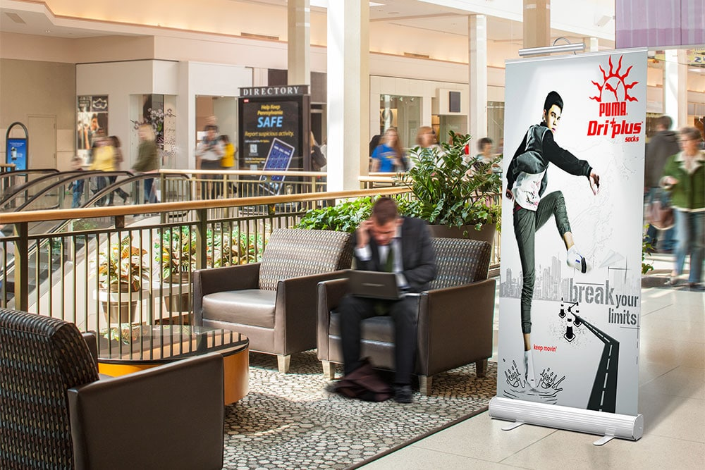 hotel lobby roll-up banner mockup