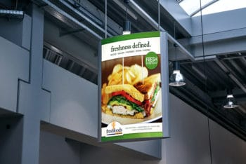 Free Indoor Advertising Poster Mockup