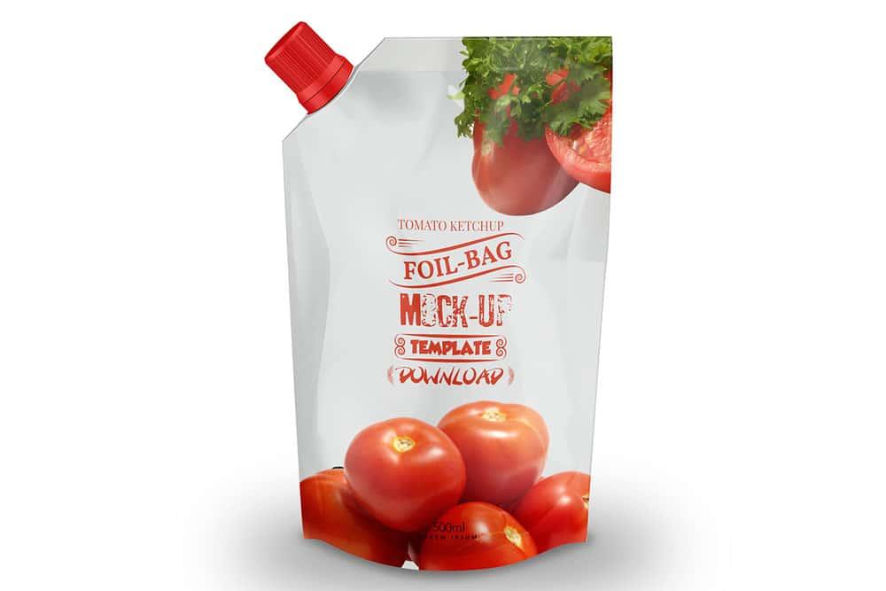 ketchup pouch mockup