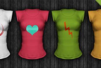 Free Short Sleeve Ladies Shirt Mockup in PSD