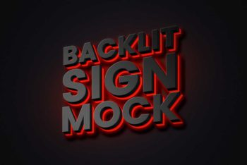 Backlit Sign Logo Mockup In PSD