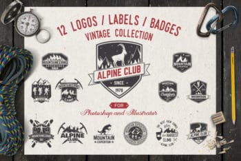 Free Alpine Club Vintage Logo Mockup in PSD