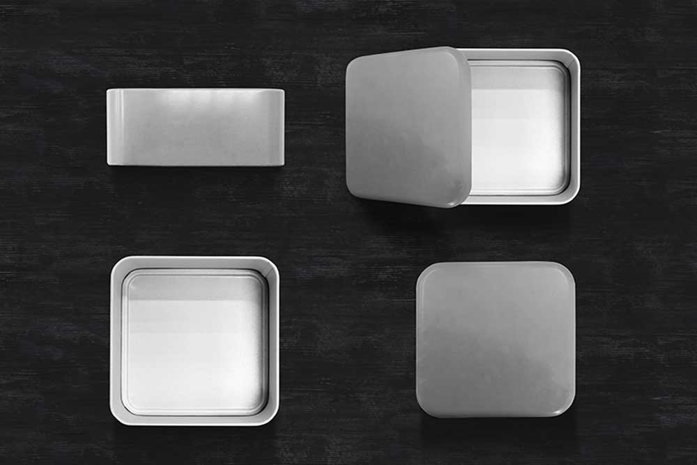 metal boxes mockup