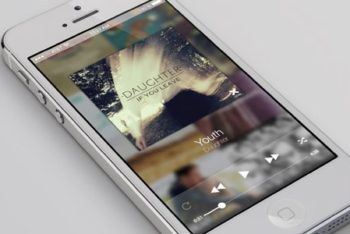 Free iPhone Screen Plus Music Player Mockup in PSD