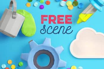 Free Cute Branding Scene Mockup in PSD