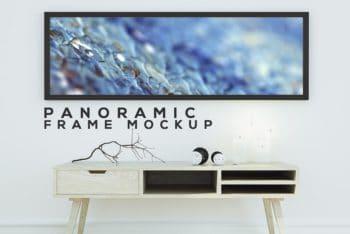 Free Panoramic Frame Scene Mockup in PSD