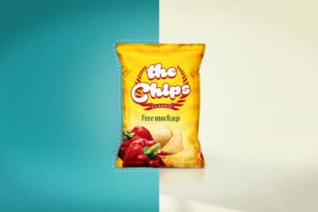 Free Customizable Chips Bag Design Mockup in PSD