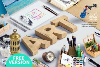 Free Isometric Art Equipment Scene Mockup in PSD