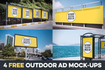 Free Multiple Outdoor Advertisement Collection Mockups