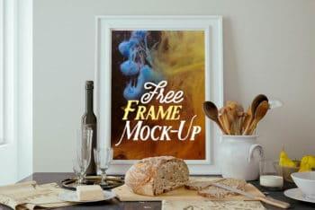 Free Classy Kitchen Frame Scene Mockup in PSD