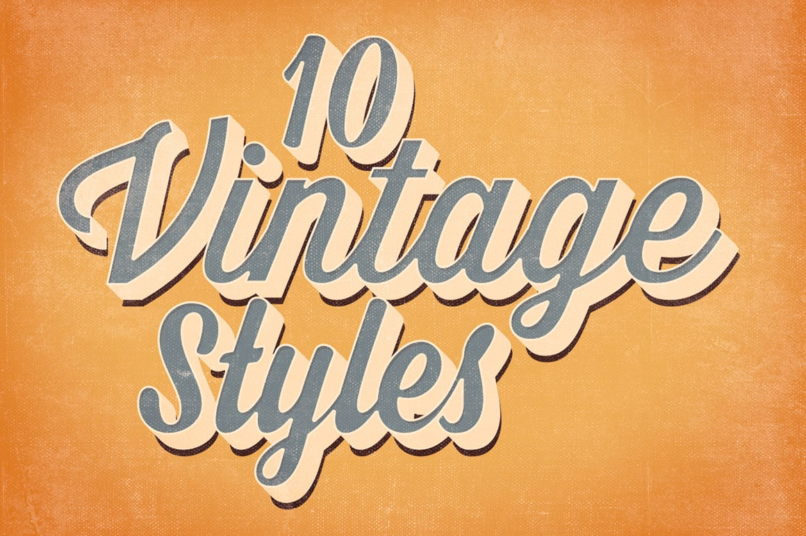Multiple Vintage Text Style Effects