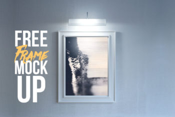 Free Wall Frame Plus Light Mockup in PSD