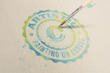 Free Creative Watercolor Painting Logo Mockup in PSD