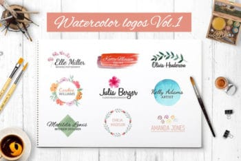 Free Creative Watercolor Logo Collection Mockup in PSD