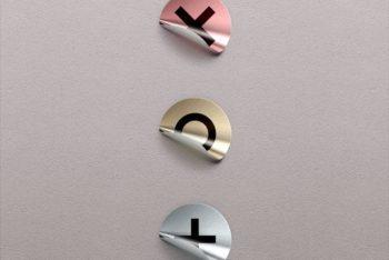 Free Foil Badge Sticker Design Mockup in PSD