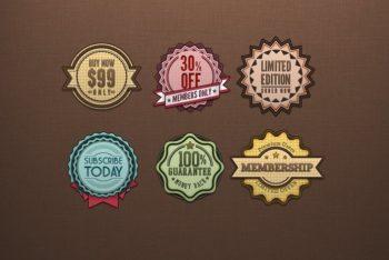 Free Funky Retro Badge Designs Mockup in PSD