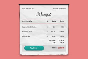 Free Payment Receipt Design Mockup in PSD