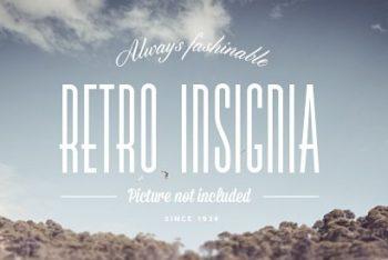 Free Retro Insignia Text Design Mockup in PSD
