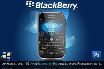 Free Old Blackberry Phone Model Mockup in PSD