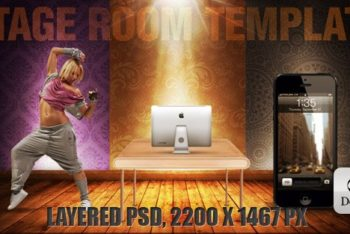 Free Stage Room Template Design Mockup in PSD