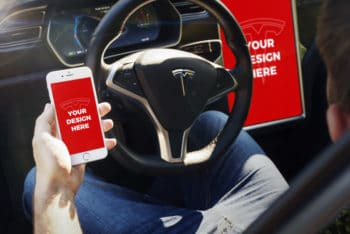 Free Tesla Car Plus iPhone Mockup in PSD