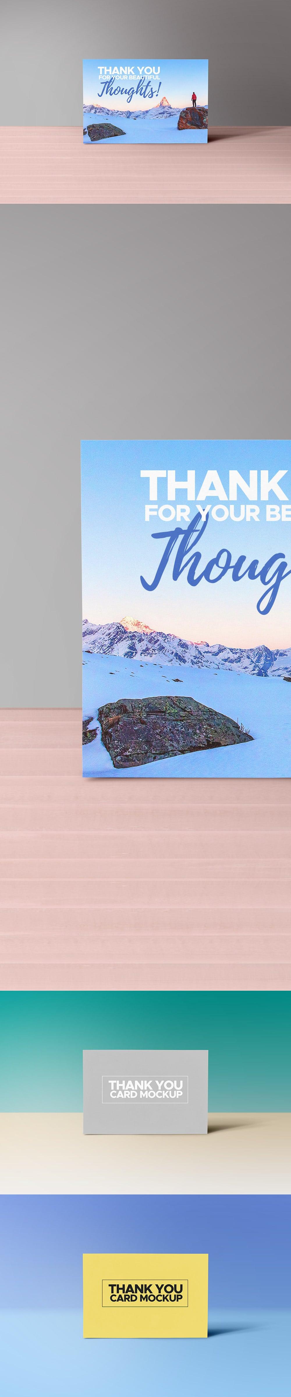 Free Heartwarming Thank You Card Mockup in PSD