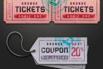 Free Paper Ticket Coupon Design Mockup in PSD