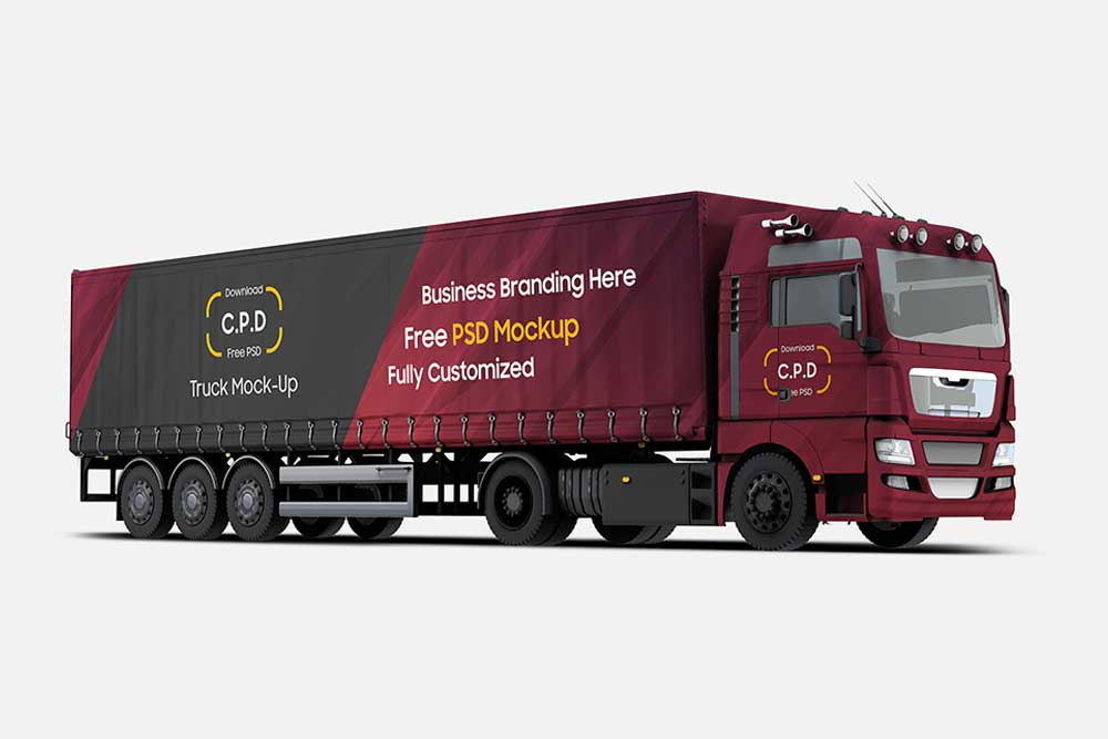 free trailer truck mockup