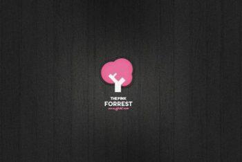 Free Cute Tree Logo Design Mockup in PSD