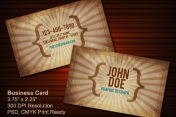 Free Vintage Business Card Design Mockup in PSD