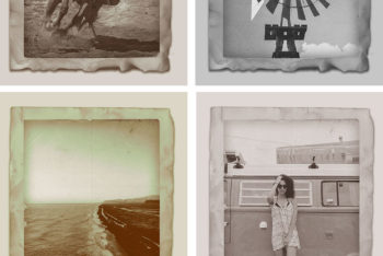 Free Vintage Photo Effect Design Mockup in PSD