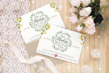 Wedding Invitation Card Mockup Free PSD