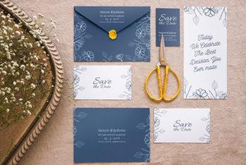 Elegant Wedding Invitation Mockup In PSD