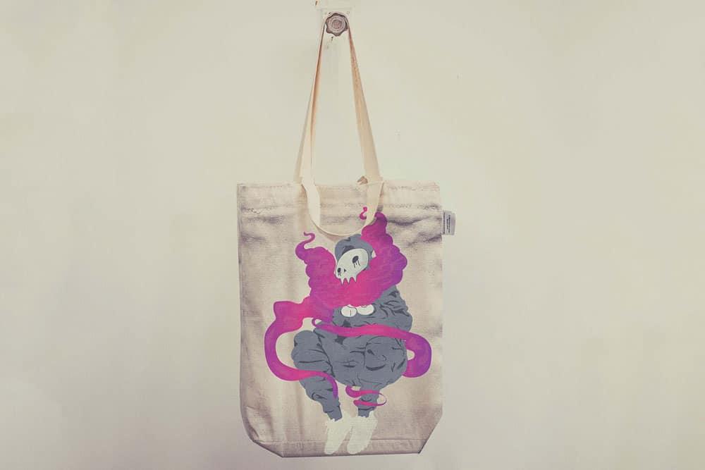Colorful tote bag mockups
