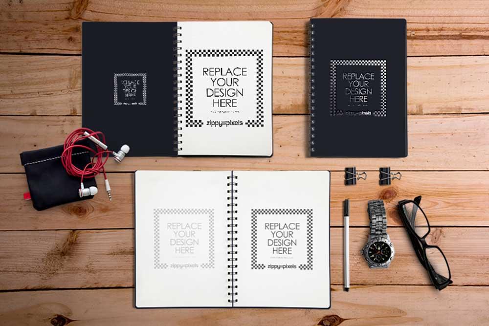 spiral notebook mockups