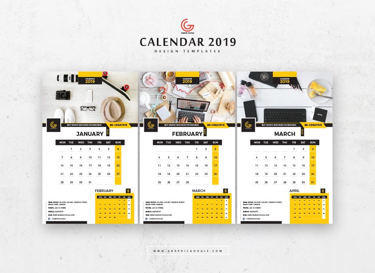 Download Template Kalender 2019 Photoshop