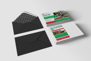 Real Estate Business Postcard PSD Mockup Available for Free