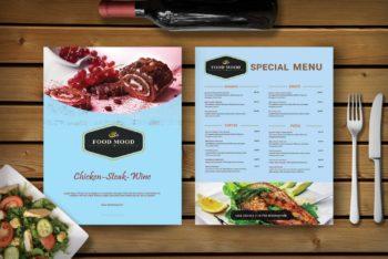 Free Menu Card PSD Mockup – Specially Designed for Sweet Shop & Cafe
