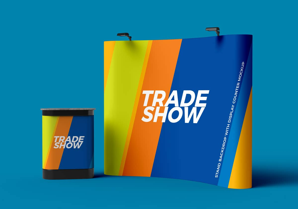Exhibition Stand Freebies : Trade show display board psd mockup download for free