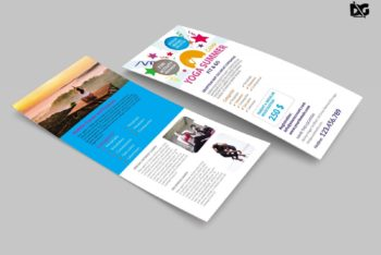 Free Rack Card PSD Mockup – Specially Designed for Yoga Event Promotion