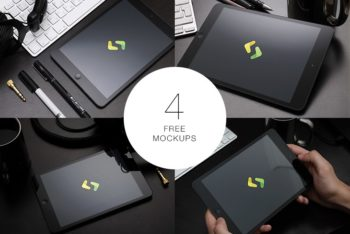 Photorealistic iPad PSD Mockup Available in Four Different Angles