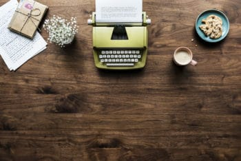 Free Typewriter Workspace Plus Desk Mockup in PSD