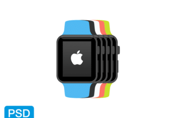 Free Flat Apple Watch Vectors Mockup in PSD