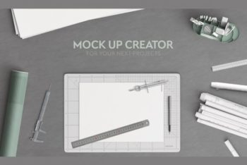 Free Architect Office Scene Mockup in PSD