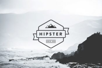 Free Awesome Hipster Logo Mockup in PSD