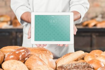 Free iPad Bakery Scene Mockup in PSD