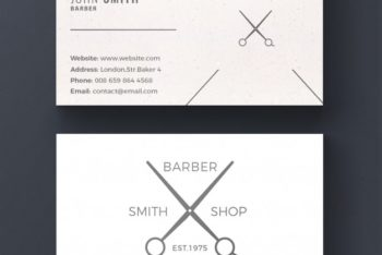 Free Barber Shop Business Card Mockup in PSD
