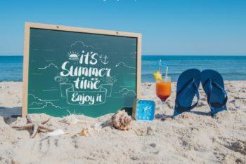 Free Beach Plus Flip Flops Summer Concept Mockup