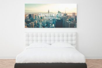 Free Bedroom Wall Frame Mockup in PSD